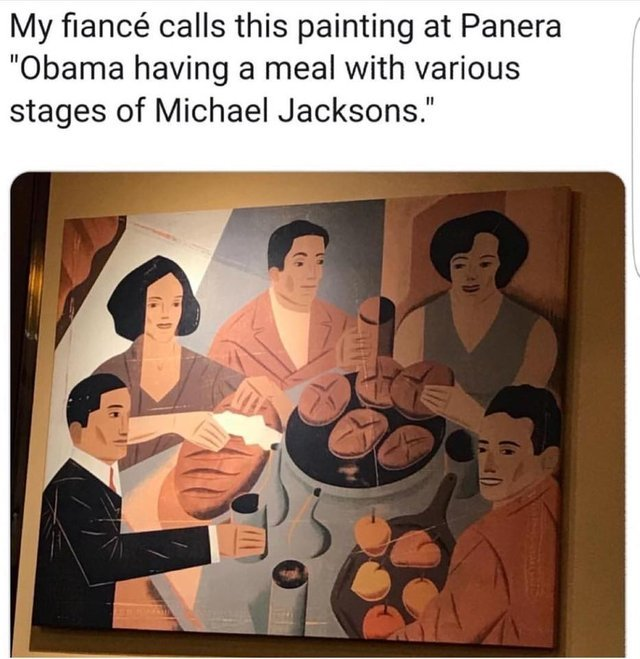 Obama having a meal with various stages of Michael Jacksons - meme