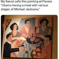 Obama having a meal with various stages of Michael Jacksons