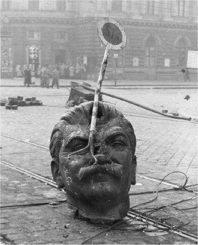Head of Stalin at the street of Budapest 1956 - meme