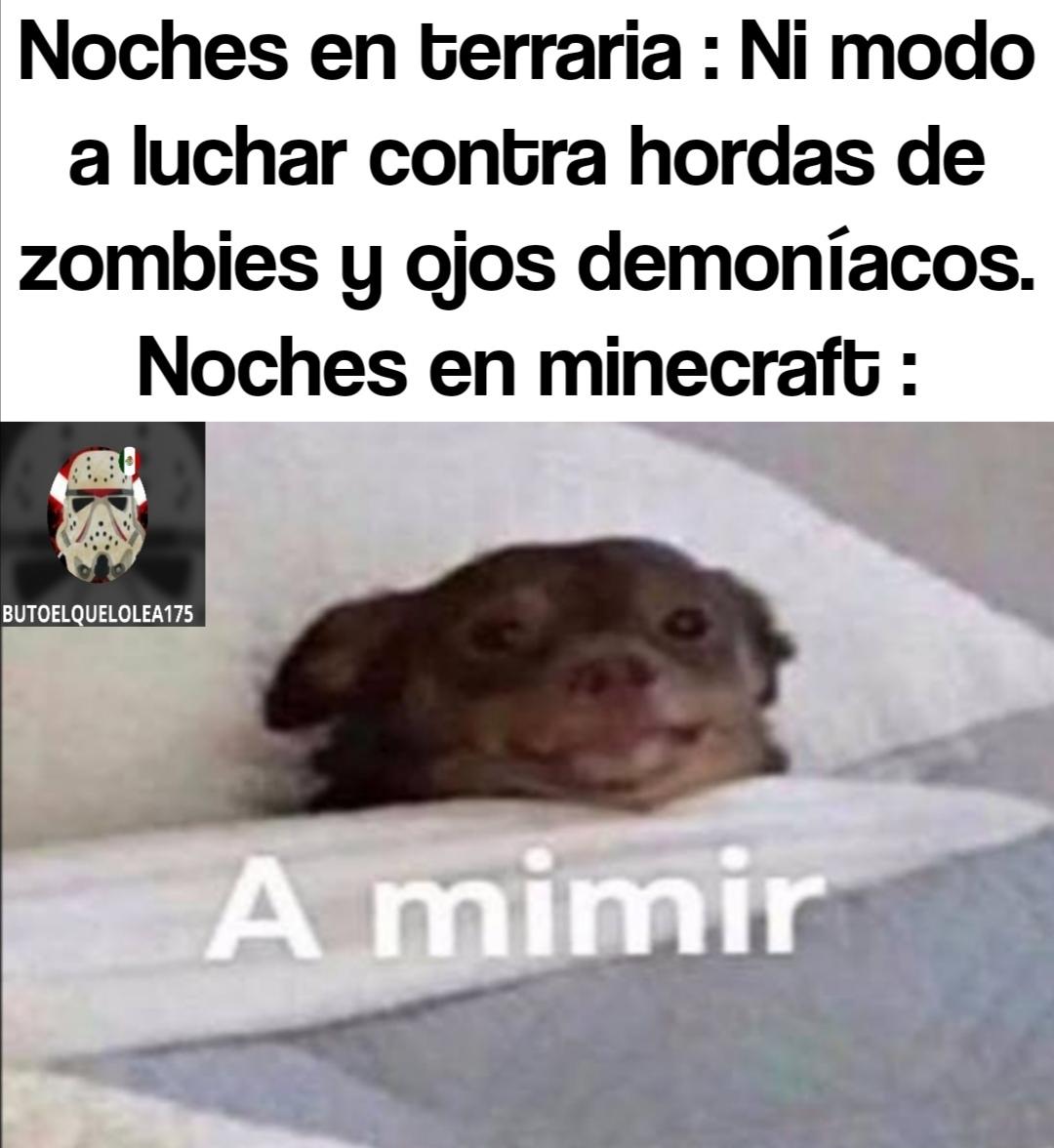 A mimir porque spawnean zombies, creepers y esqueletos - meme