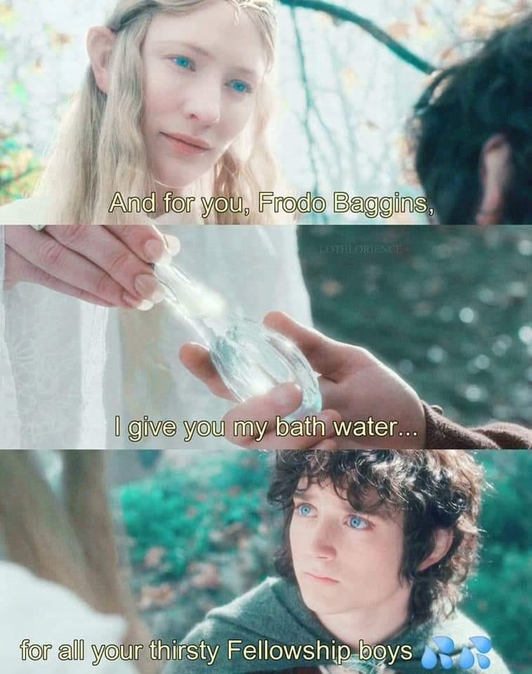 Frodo becomes a simp - meme