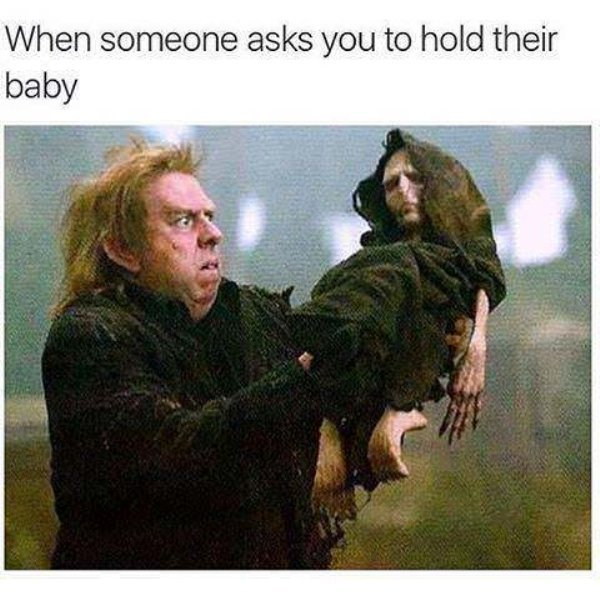 Please hold my baby - meme