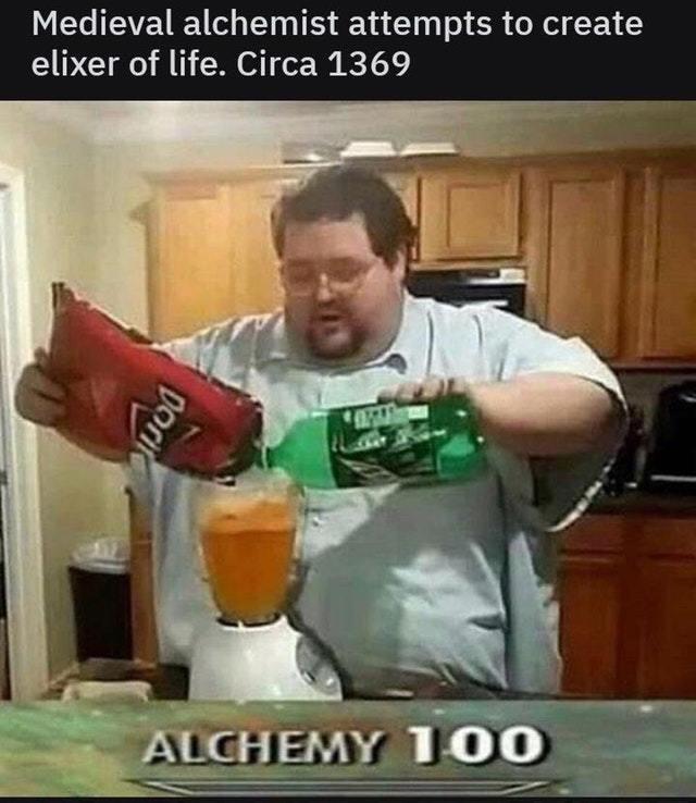 Medieval alchemist attempts to create elixir of life - meme