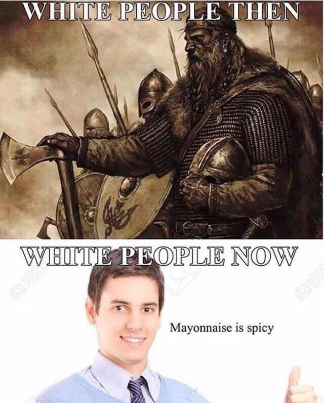 White people then vs white people now - meme
