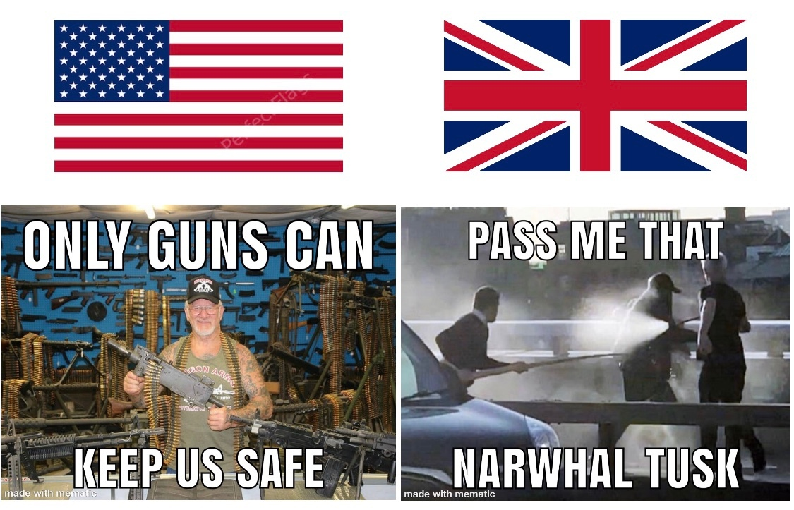 US security Vs UK security - meme