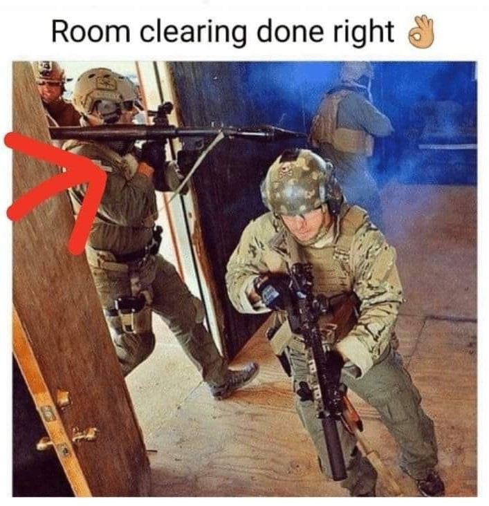 The only right way to clear a room - meme