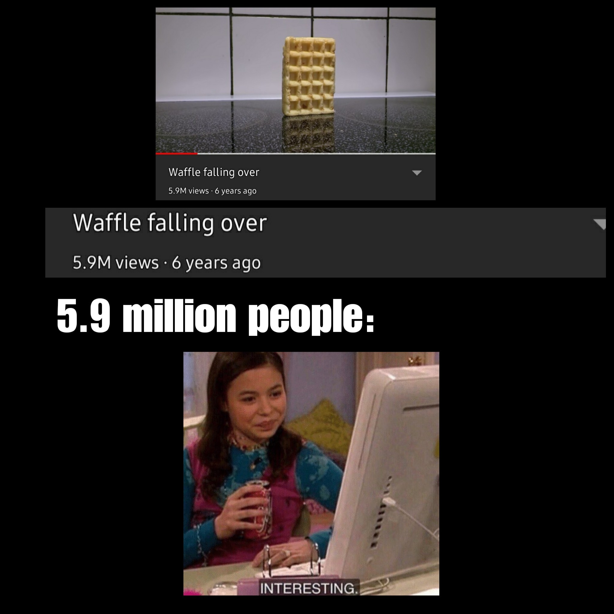 Waffle falling over - meme