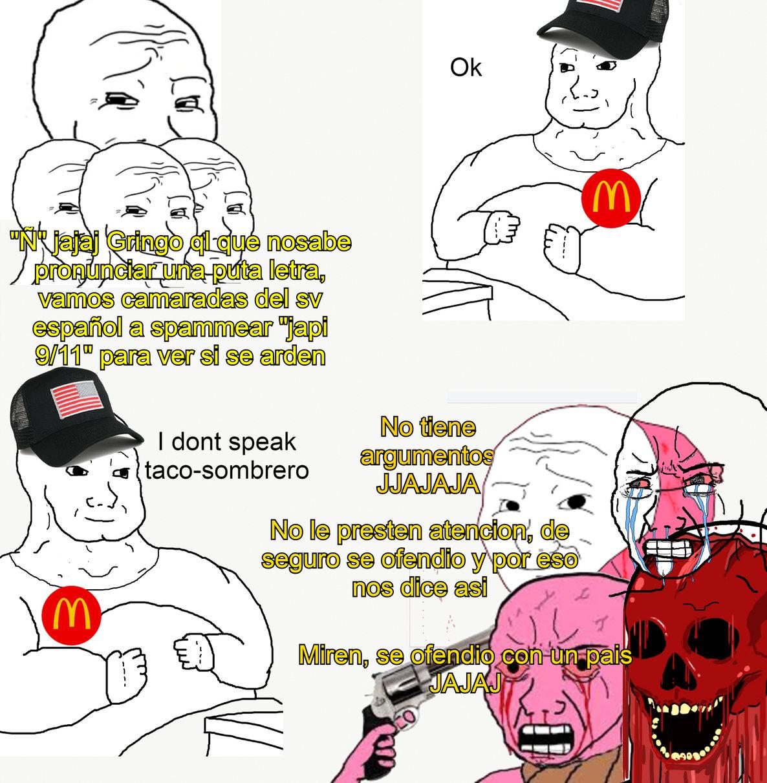 aunque igual hubo algunos gordos virgos gringos que si se ardieron, pero esto representa casi todo sobre la supuesta invasion xDD - meme