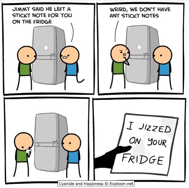 the title jizzes on your fridge - meme