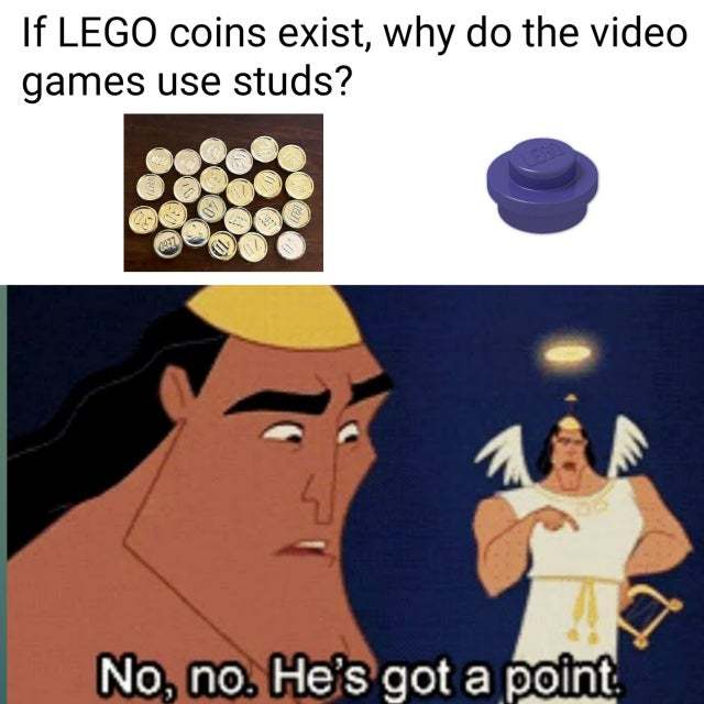 If LEGO coins exist, why do the video games use studs? - meme