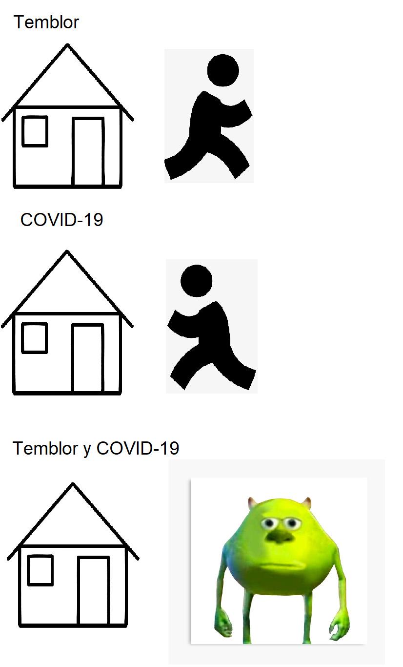 Temblor y covid 19 - meme