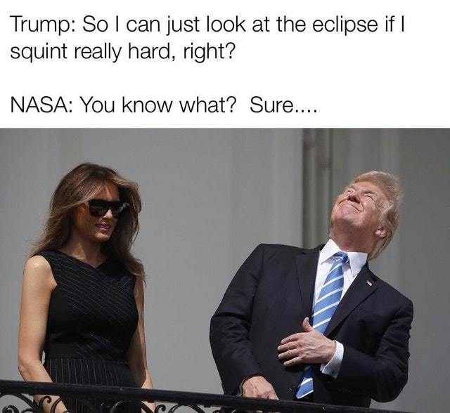 Trump and Melania enjoying the Eclipse - meme