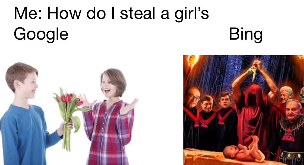 Google vs bing - meme