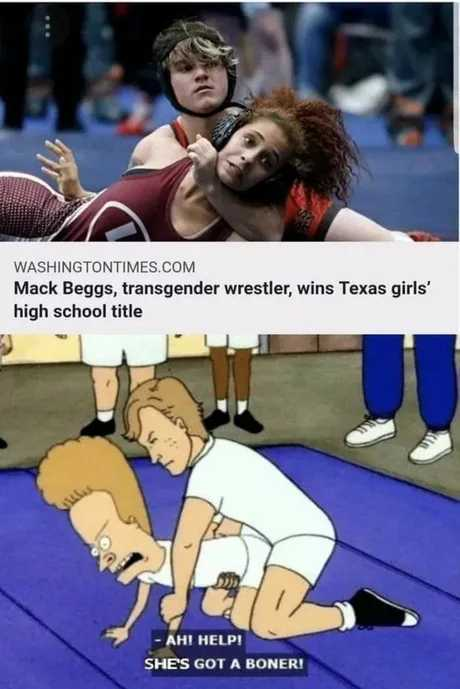 Its true, he was born a girl. They wont let him wrestle boys - meme