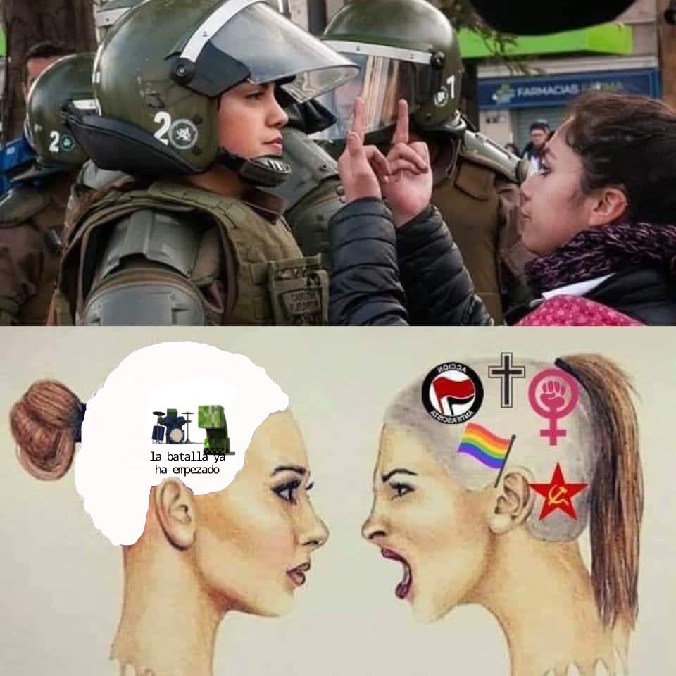 Mientras tanto en una marcha feminista - meme