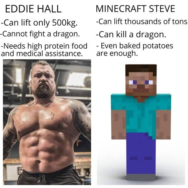 Eddie Hall vs Minecraft Steve - meme