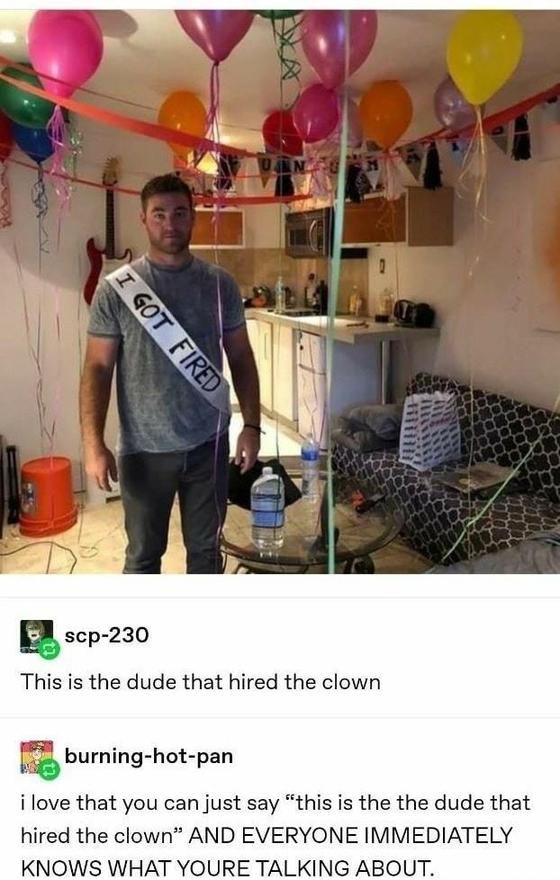 Emotional support clown - meme