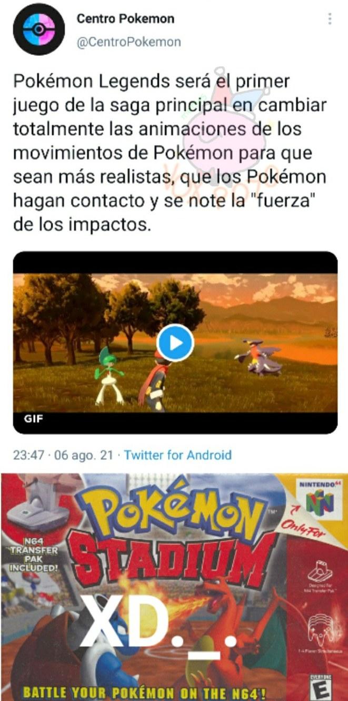 El equisde queda perfecto por que hace referencia a la secuela de pokemon stadium - meme