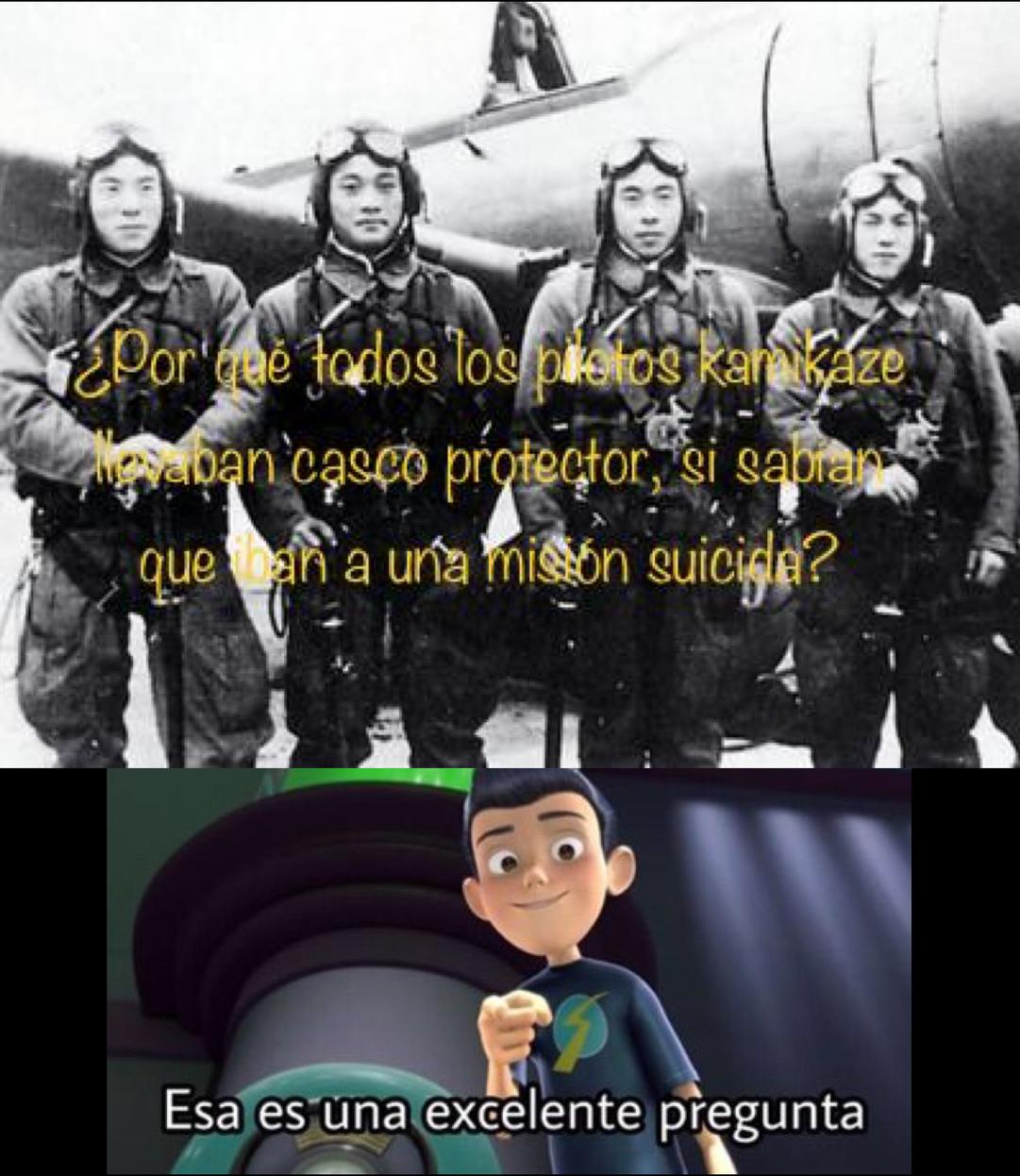Por qué todos los pilotos kamikaze llevaban casco protector, si sabían que iban a una misión suicida ??? - meme