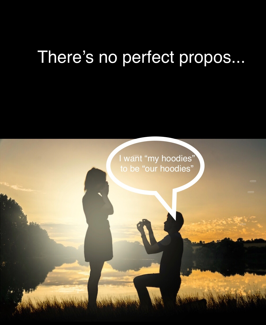 there's no perfect proposal.... hoodie - meme