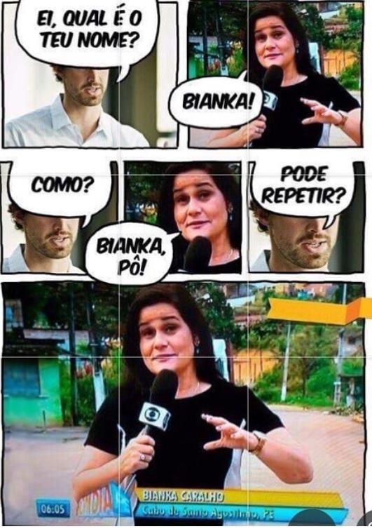 o titulo foi ser entrevistado pela bianka - meme