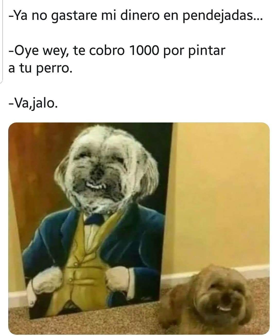 Cuando jalas para que le hagan un cuadro a tu perro - meme