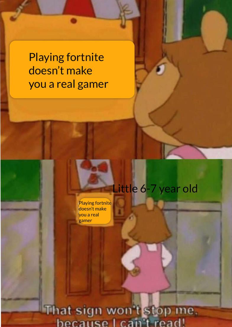 Fortnite kids in a nutshell - meme