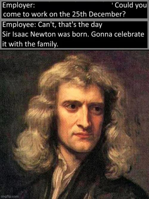 Merry Isaac Newton birthday - meme