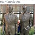 Bill Clinton hiding in the Bushes