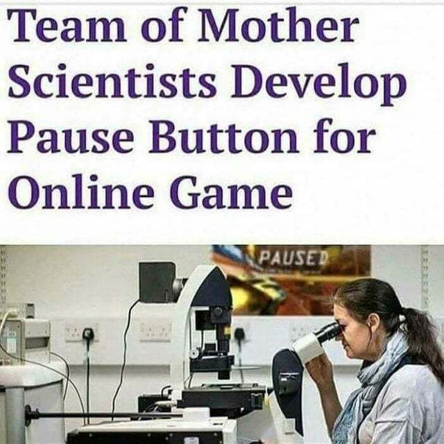 Team of mother scientists develop pause buttonf or online game - meme