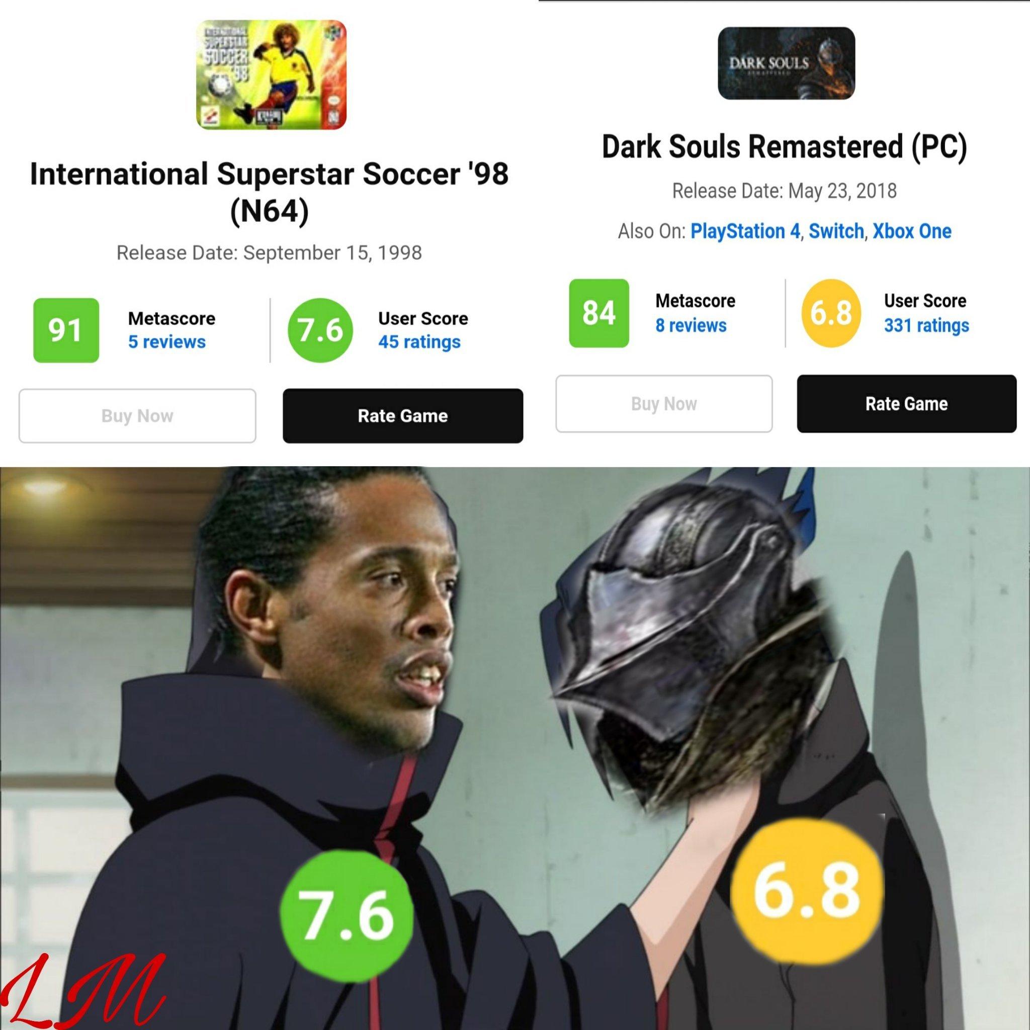 Ronaldinho Soccer es el dark souls de los juegos de futbol - meme