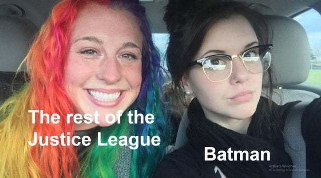 Batman does not fit the Justice League - meme