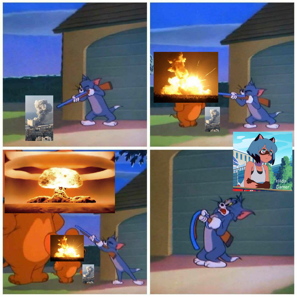 Que Piensan, Una Explosión Normal Es Fuerte, Una Explosión Fuerte Es Más Fuerte, O UNA BOMBA NUCLEAR - meme