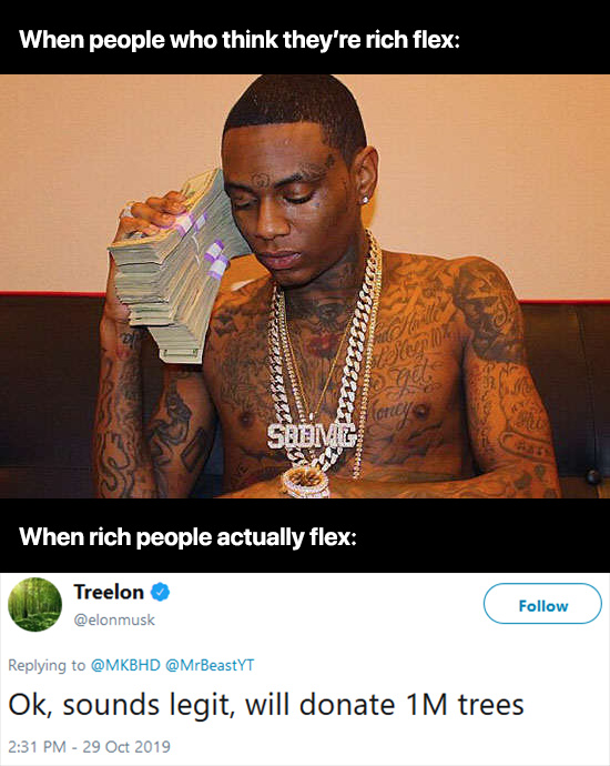 When rich people actually flex - meme