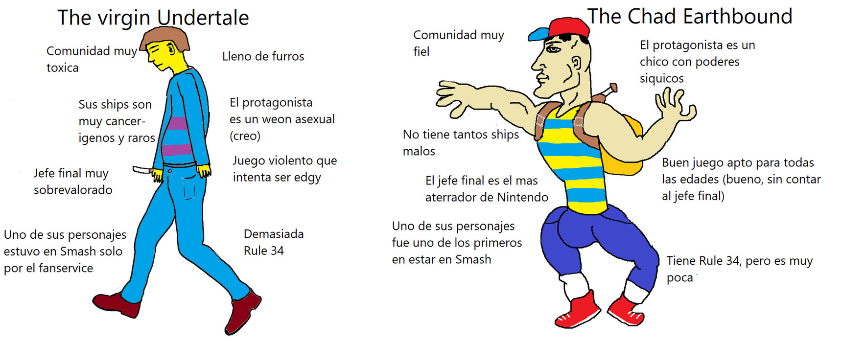 Virgin Undertale vs Chad Earthbound - meme