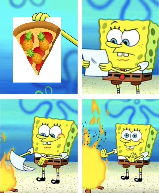 Che schifo la pizza all'ananas - meme
