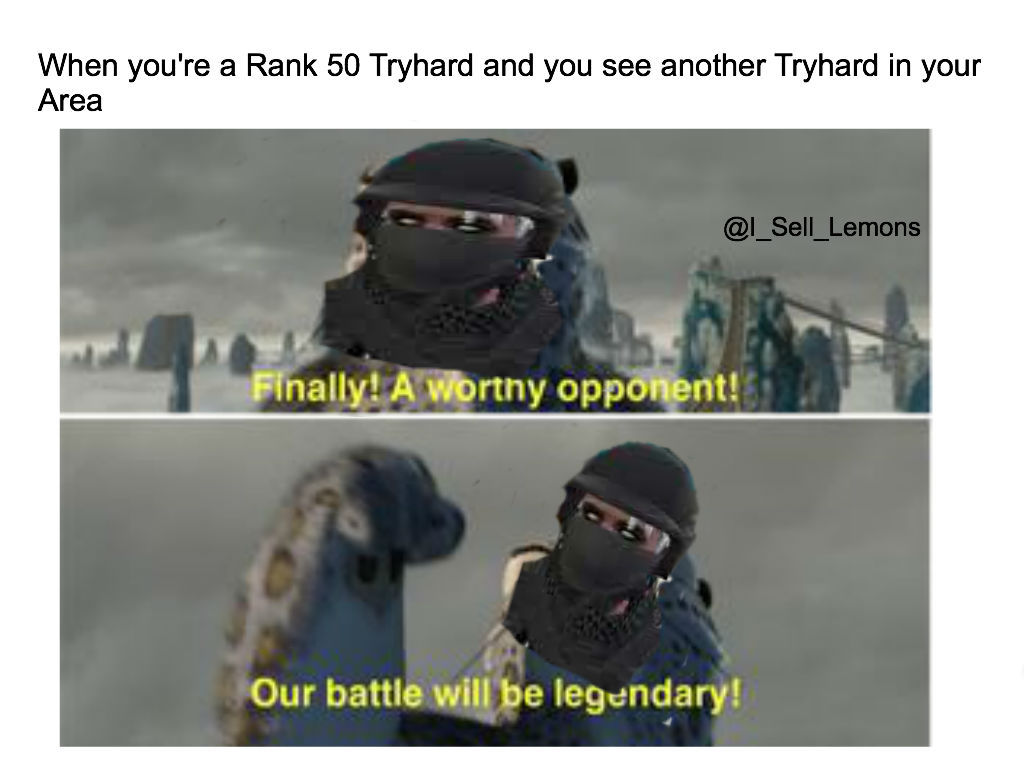 When you're a Rank 50 Tryhard and you see another Tryhard in your Area - meme