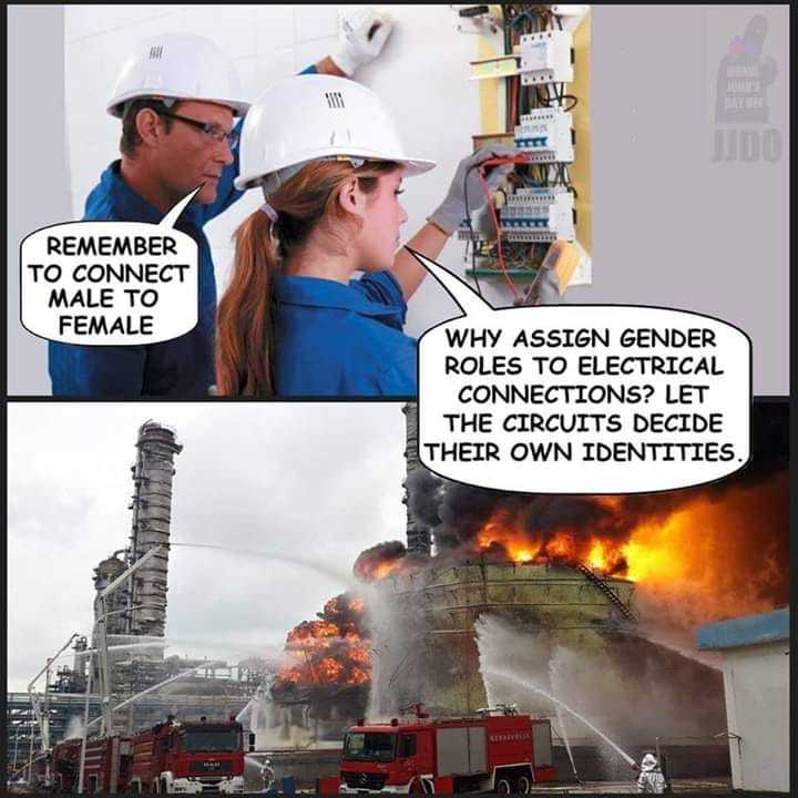 Gender politics are a fire hazard - meme