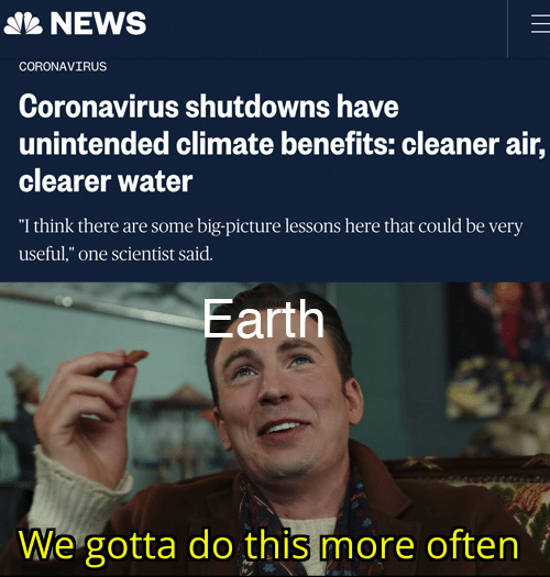 Coronavirus shutdowns have unintended climate benefits: cleaner air and clearer water - meme