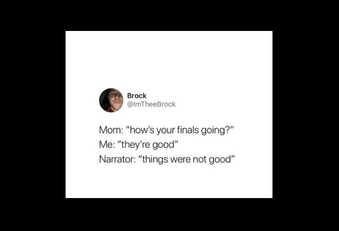 """Theyre good"" that one lie we use everytime someone ask us about the finals - meme"