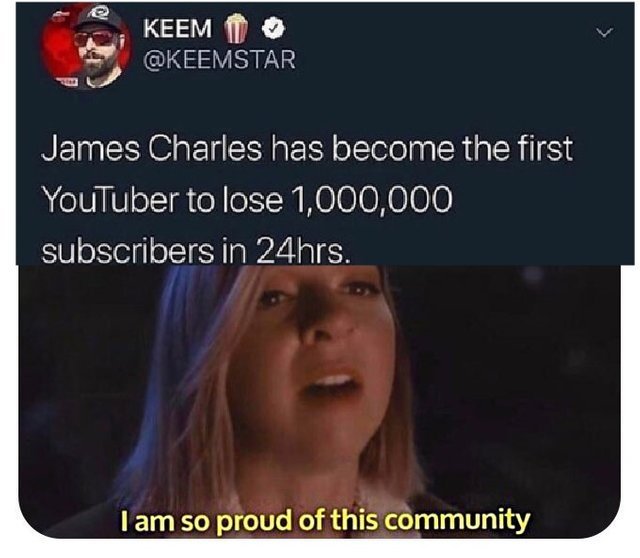 James Charles has become the first Youtuber to lose 1 million subscribers in 24 hours - meme