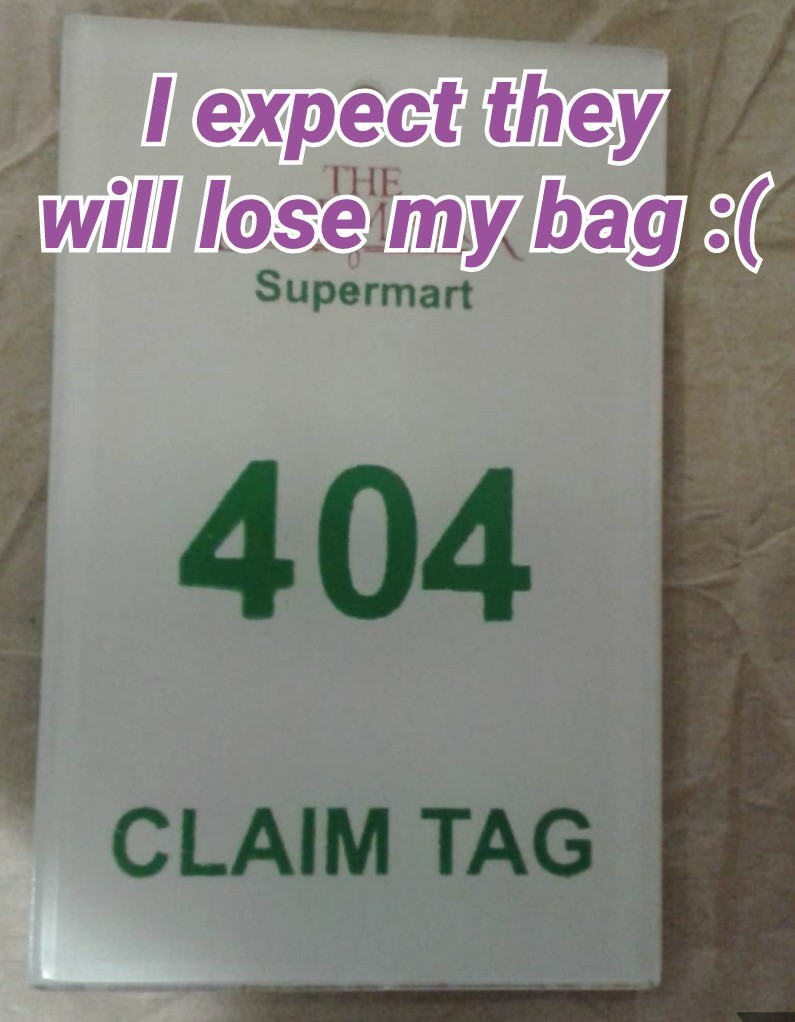 Error 404 bag not found - meme