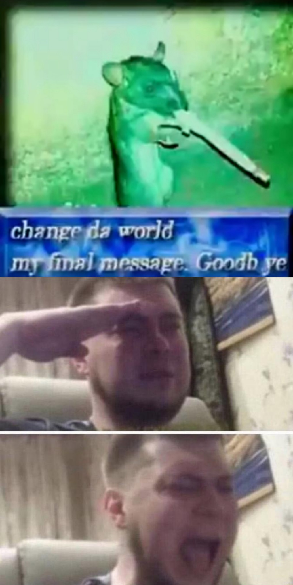 adiós mi pequeño soldado, más palabras en los comentarios. - meme