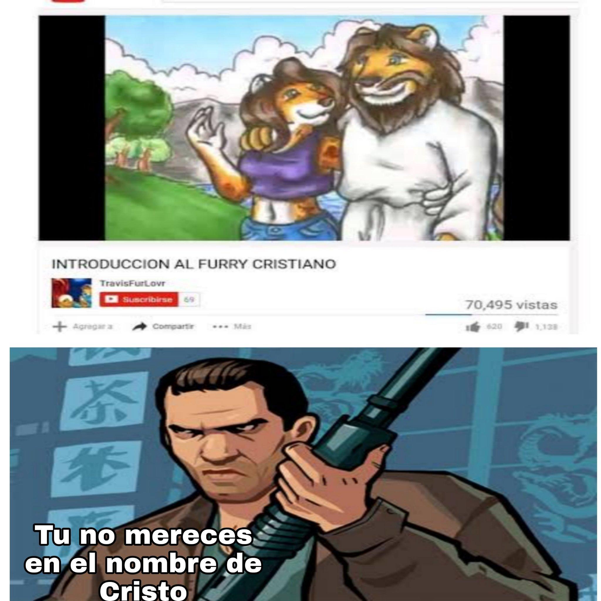 Los furros no mercen creer en dios - meme