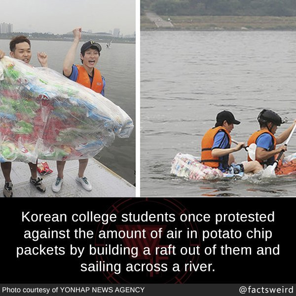 Korean students protest again the amount of air in potato chip packets - meme