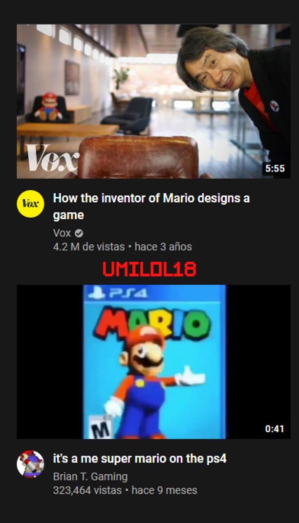 Para los que no saben ingles arriba dice: Como el inventor de Mario hace un juego y abajo un video dice: Soy yo Mario en el PS4 - meme