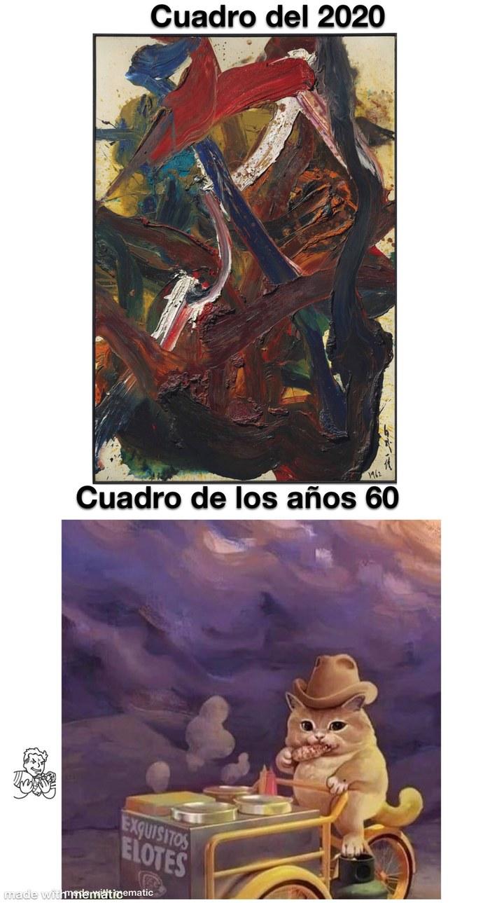 La estética del 2 cuadro es muy similar a la de los años 60 - meme