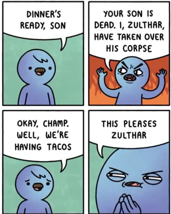 Demonic possession is spooky. - meme