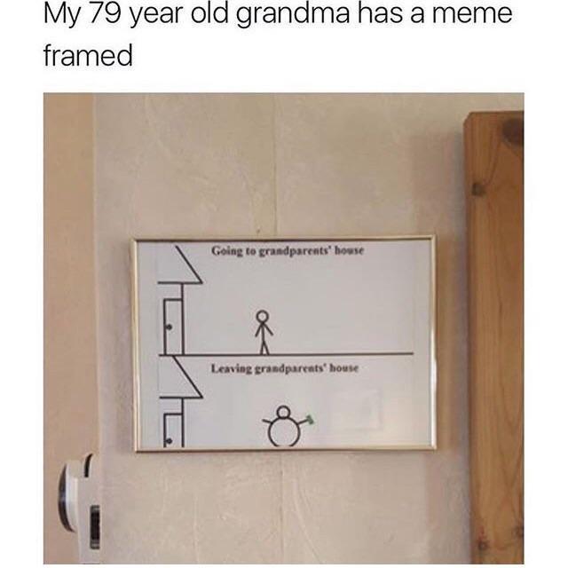 My 79 year old grandma has a meme framed