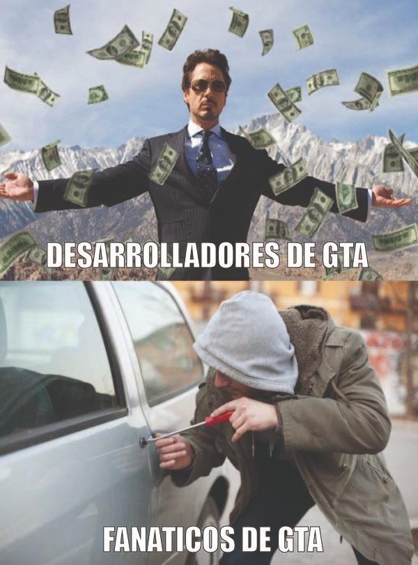 desarrolladores de GTA y fanáticos de GTA - meme